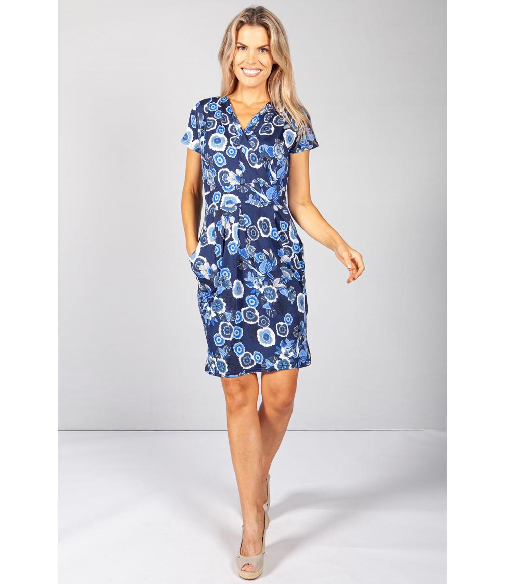 Zapara Royal Blue Bloom Print Dress