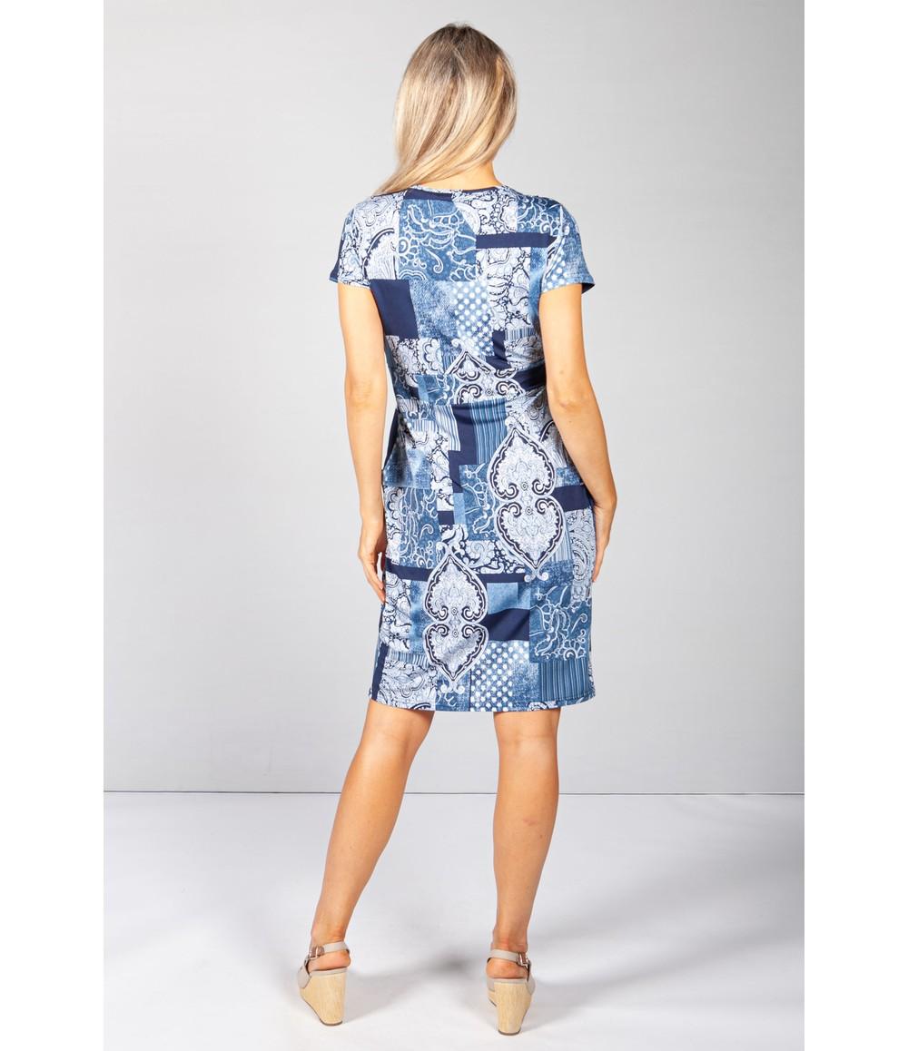 Zapara Blue Abstract Paisley Print Dress