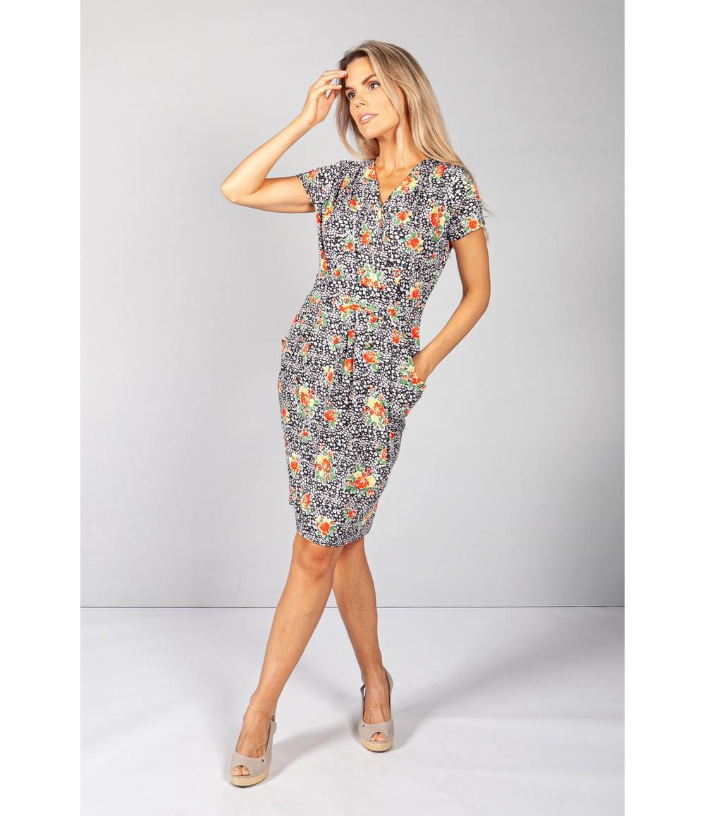 Zapara Black Rose Patterned Dress