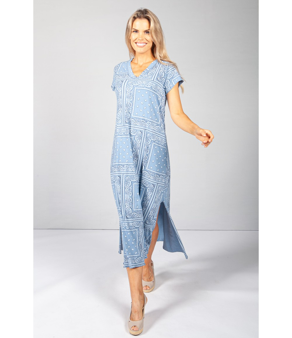 Pamela Scott Blue Paisley Print Maxi Dress