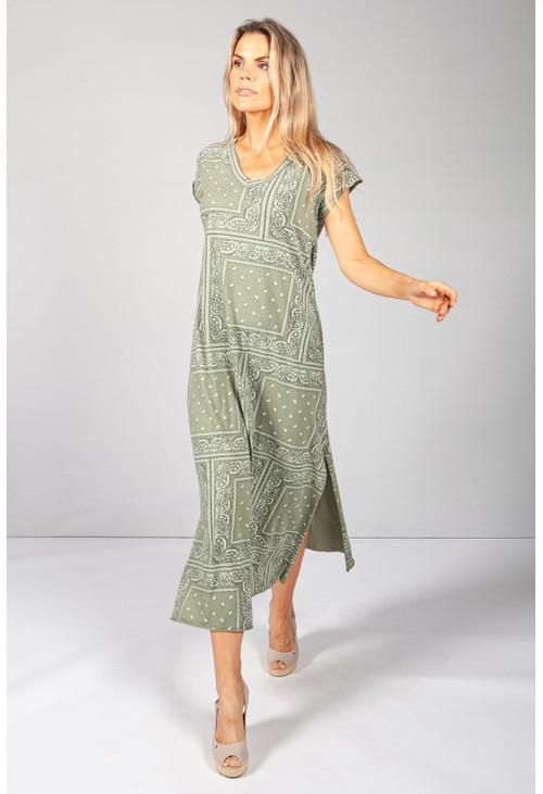 Pamela Scott Khaki Paisley Print Maxi Dress
