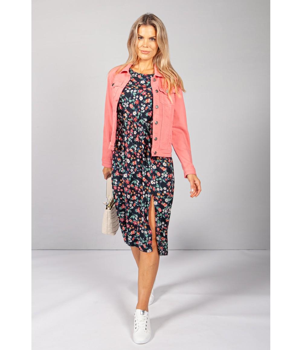 Pamela Scott Dark Navy Floral Midi Dress