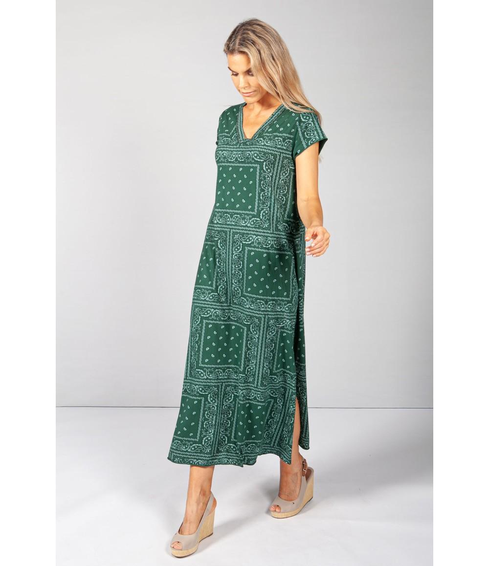 Pamela Scott Forest Green Paisley Print Maxi Dress