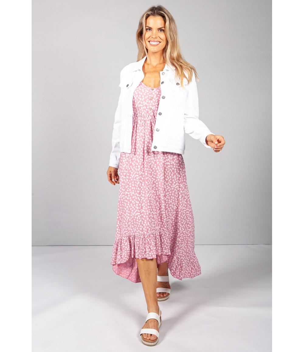 Pamela Scott Strappy Printed Midi Dress in Pink