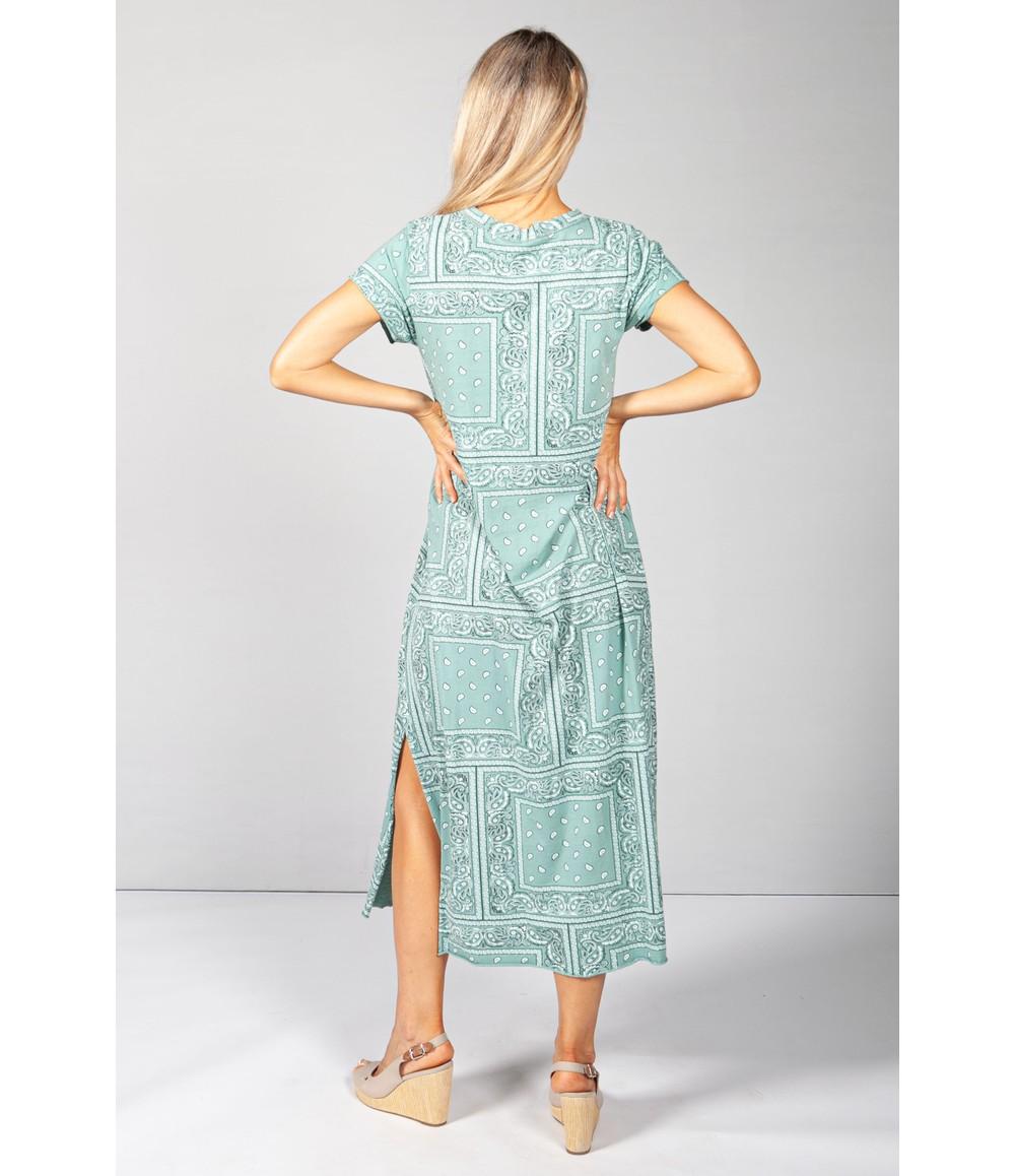 Pamela Scott Green Paisley Print Maxi Dress