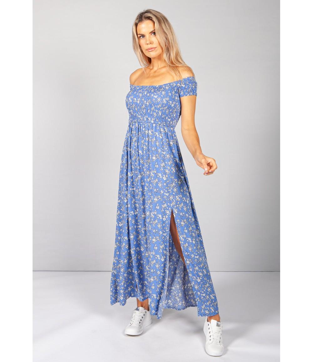 Pamela Scott Blue Floral Smocking Bodice Dress