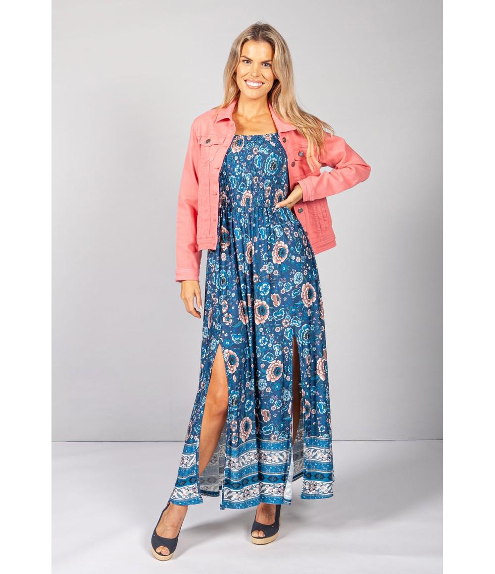 Pamela Scott Dark Blue Floral Smocking Bodice Dress