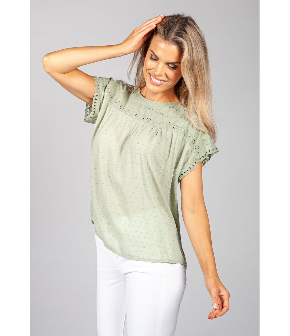 Pamela Scott Khaki Embroidered Top
