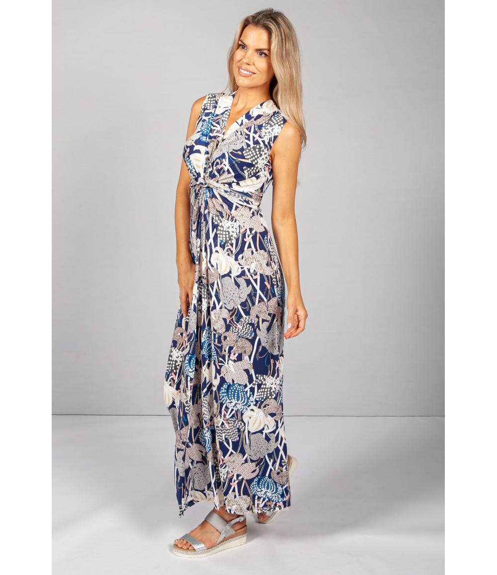 Pamela Scott Blue Abstract Lily Print Dress