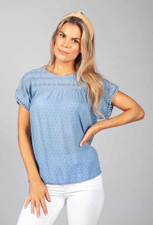 Pamela Scott Blue Embroidered Top