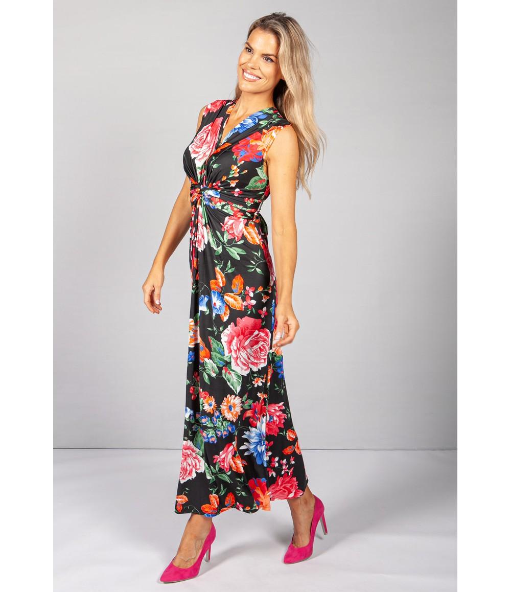 Pamela Scott Black & Multicolour Floral Print Dress