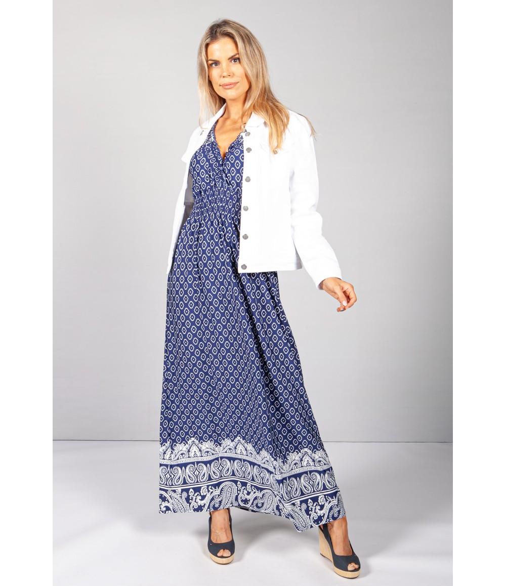 Pamela Scott Blue Vintage Paisley Print Dress