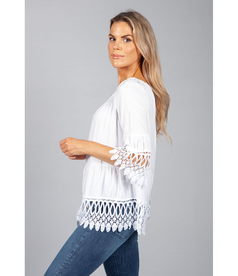 Pamela Scott White Lace Embroidered Top