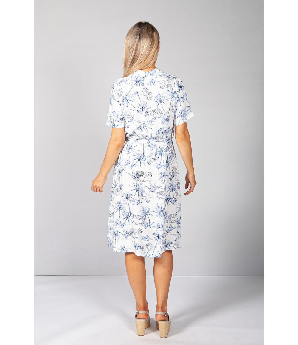 Pamela Scott Blue Palm Tree & Tiger Print Dress