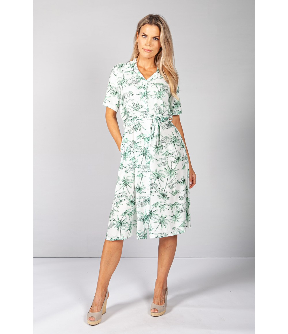 Pamela Scott Green Palm Tree & Tiger Print Dress