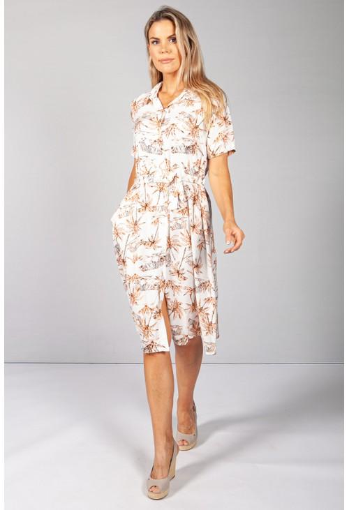 Pamela Scott Orange Palm Tree & Tiger Print Dress