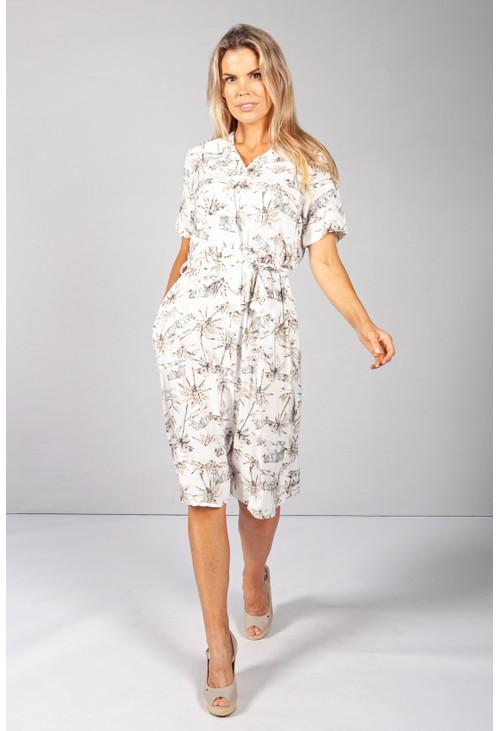 Pamela Scott Beige Palm Tree & Tiger Print Dress