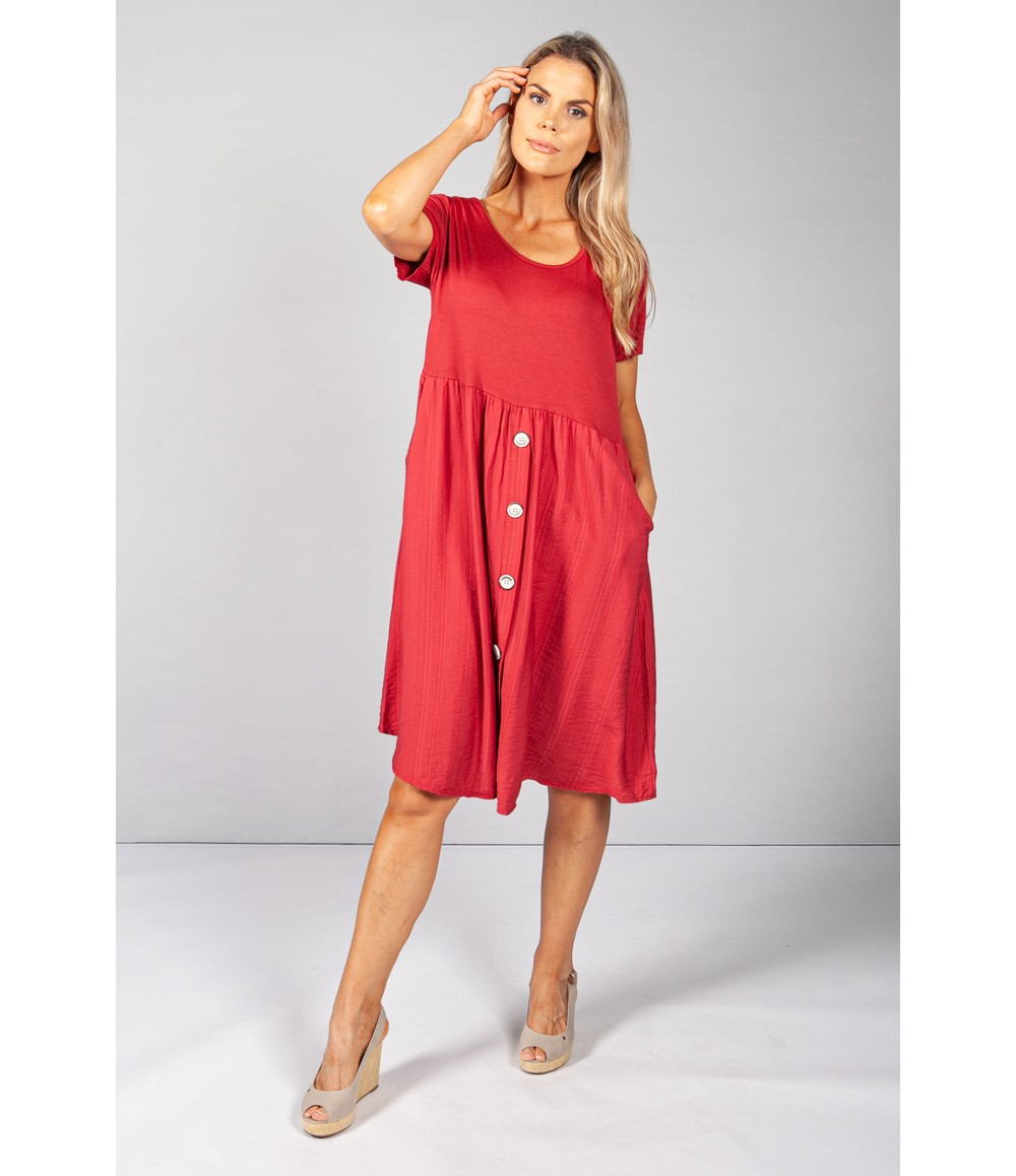 Pamela Scott Wine Button Dress