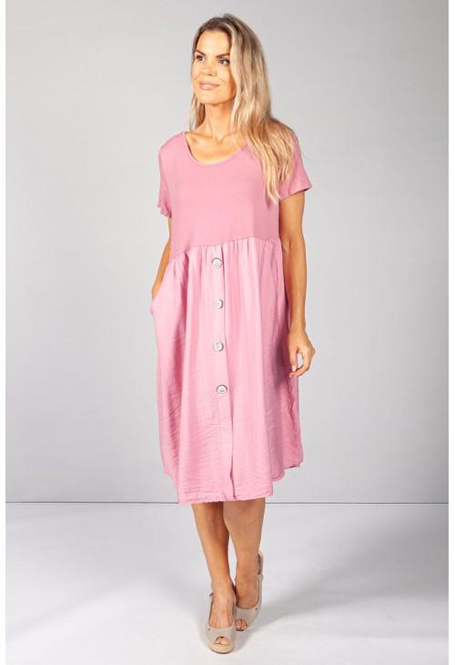 Pamela Scott Pink Button Dress