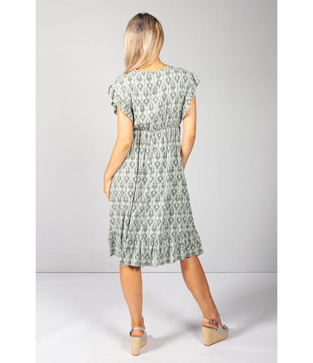 Pamela Scott Khaki Paisley Print Dress