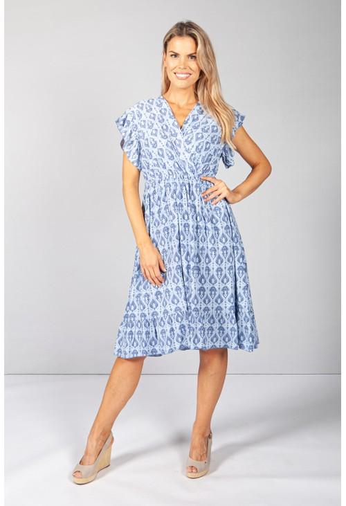 Pamela Scott Afternoon Sky Paisley Print Dress