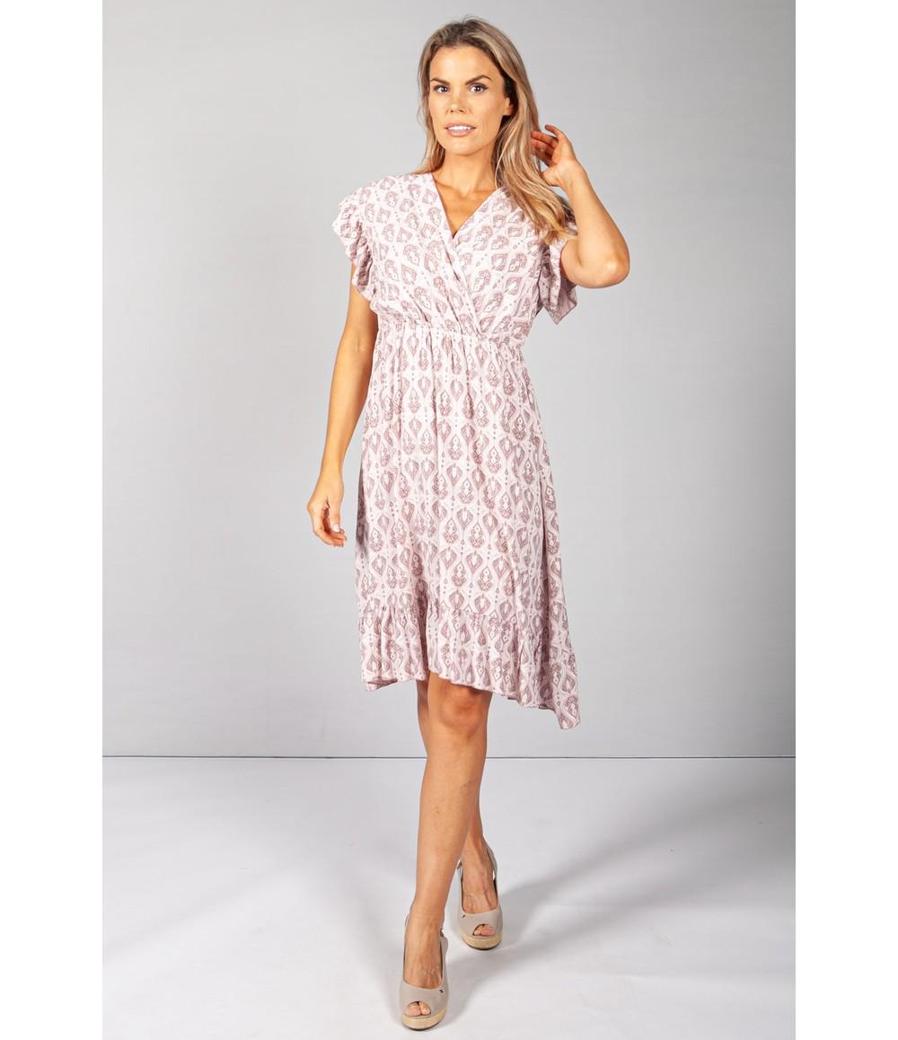 Pamela Scott Dusted Pink Paisley Print Dress