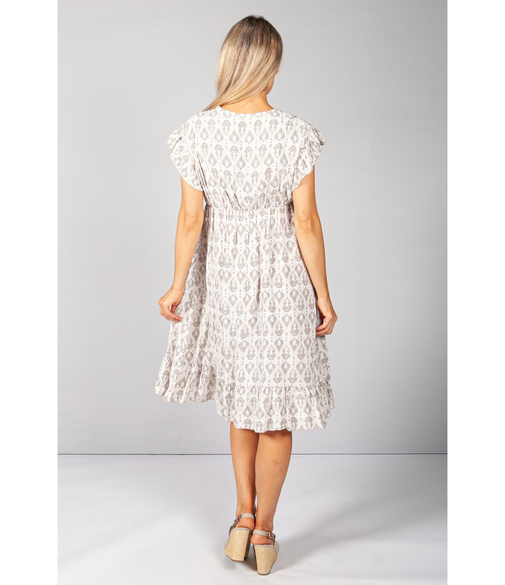 Pamela Scott Latte Paisley Print Dress