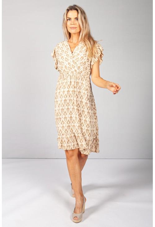 Pamela Scott Golden Tan Paisley Print Dress