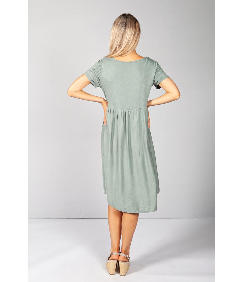 Pamela Scott Khaki Button Dress