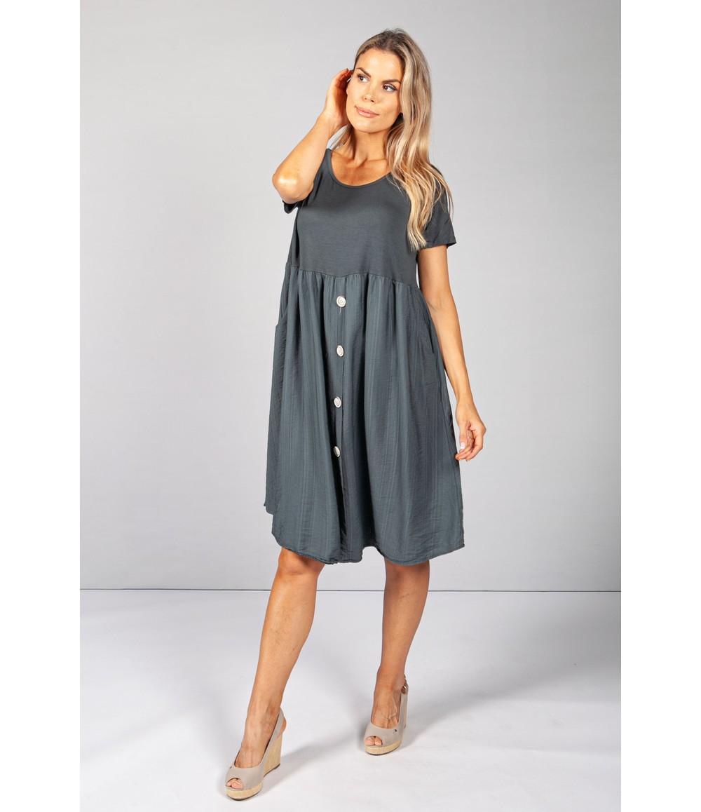 Pamela Scott Charcoal Button Dress