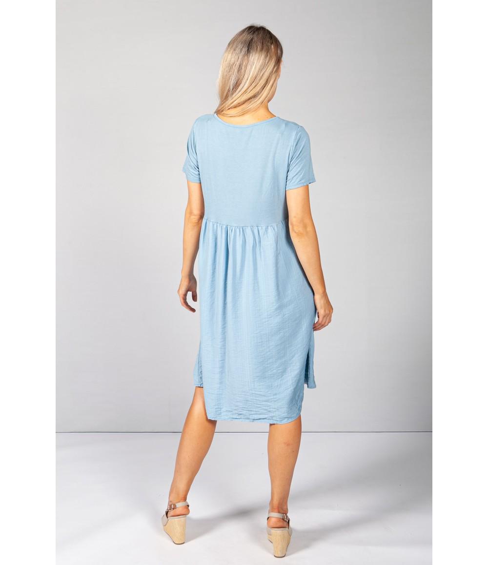 Pamela Scott Afternoon Sky Button Dress