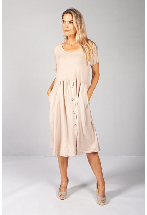 Pamela Scott Toasted Button Dress