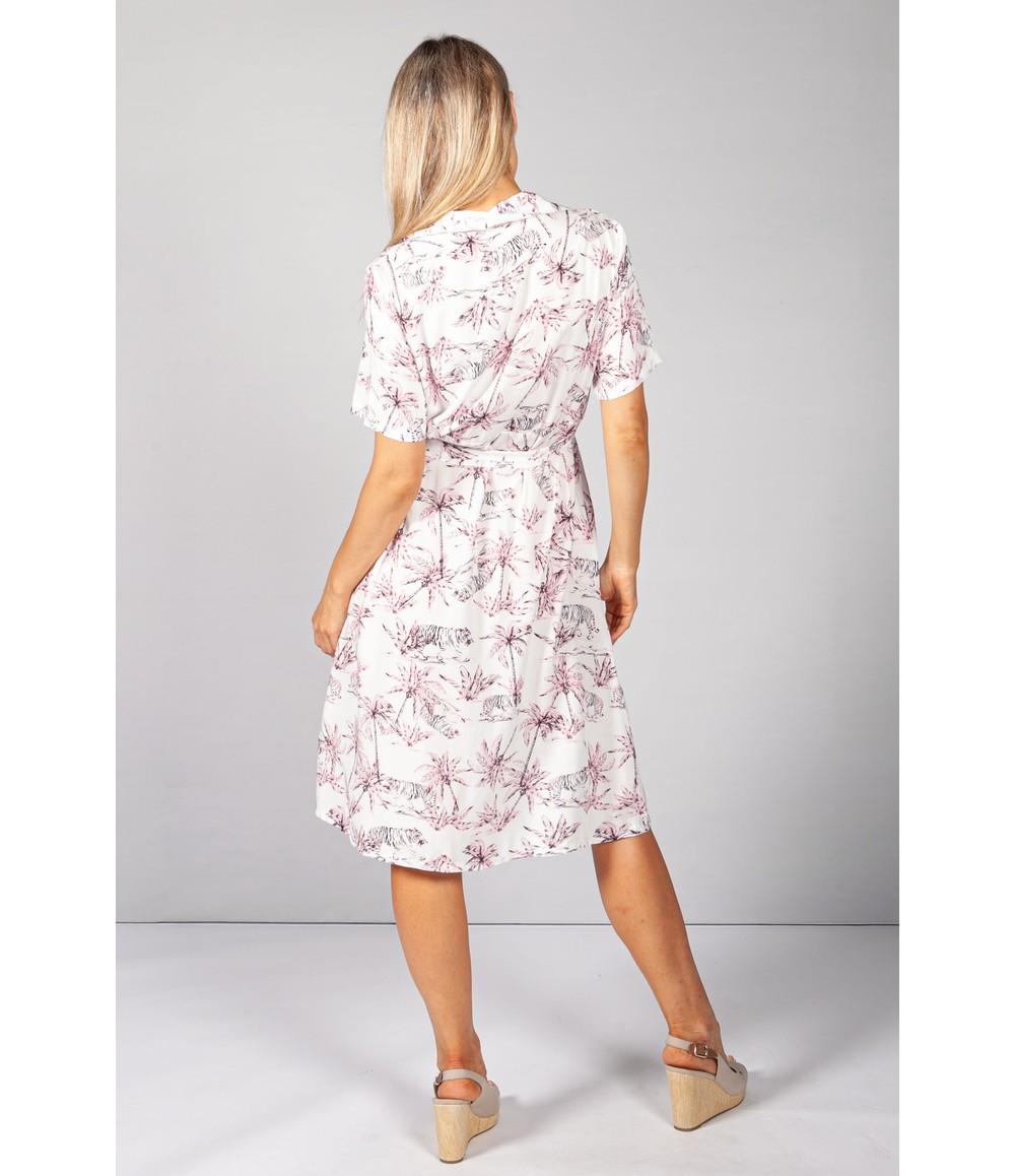 Pamela Scott Pink Pop Palm Tree & Tiger Print Dress