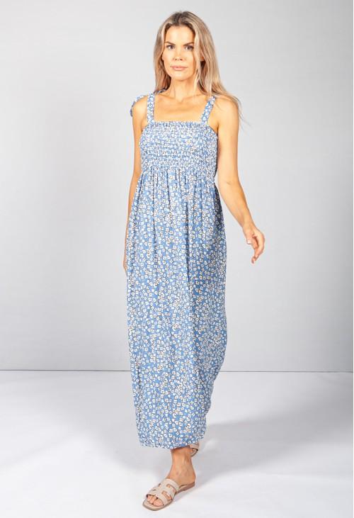 Pamela Scott Blue Daisy Pop Smocking Dress