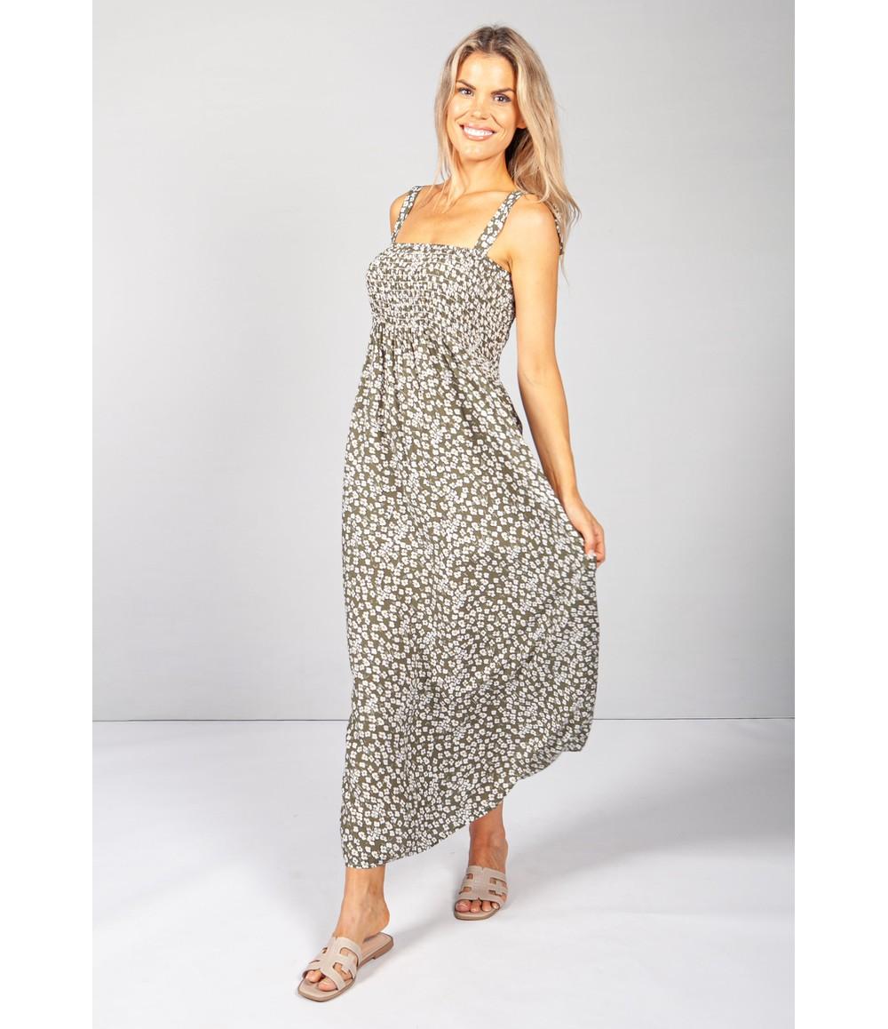 Pamela Scott Green Daisy Pop Smocking Dress