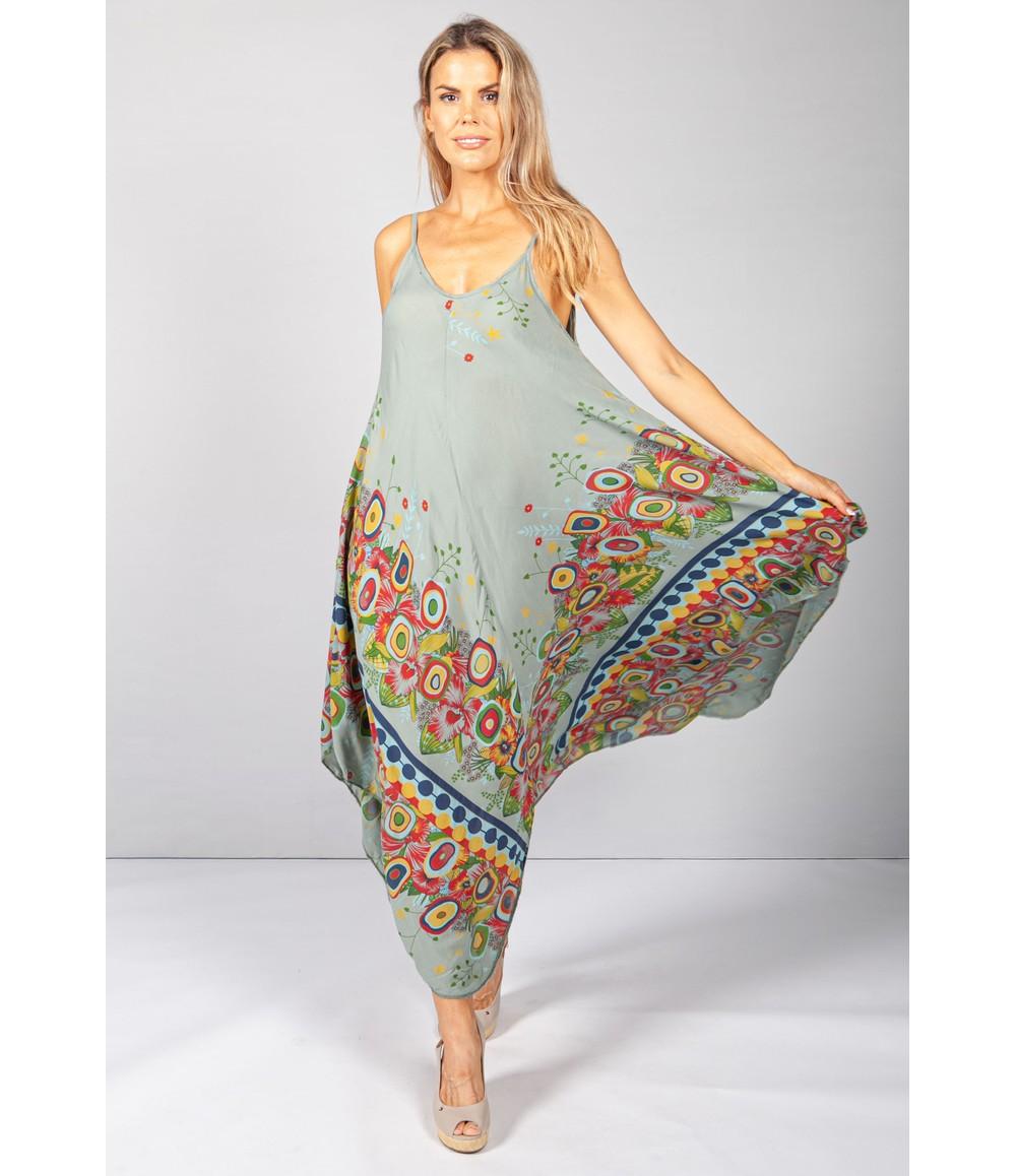 Pamela Scott Floral Abstract Print Dress in Khaki