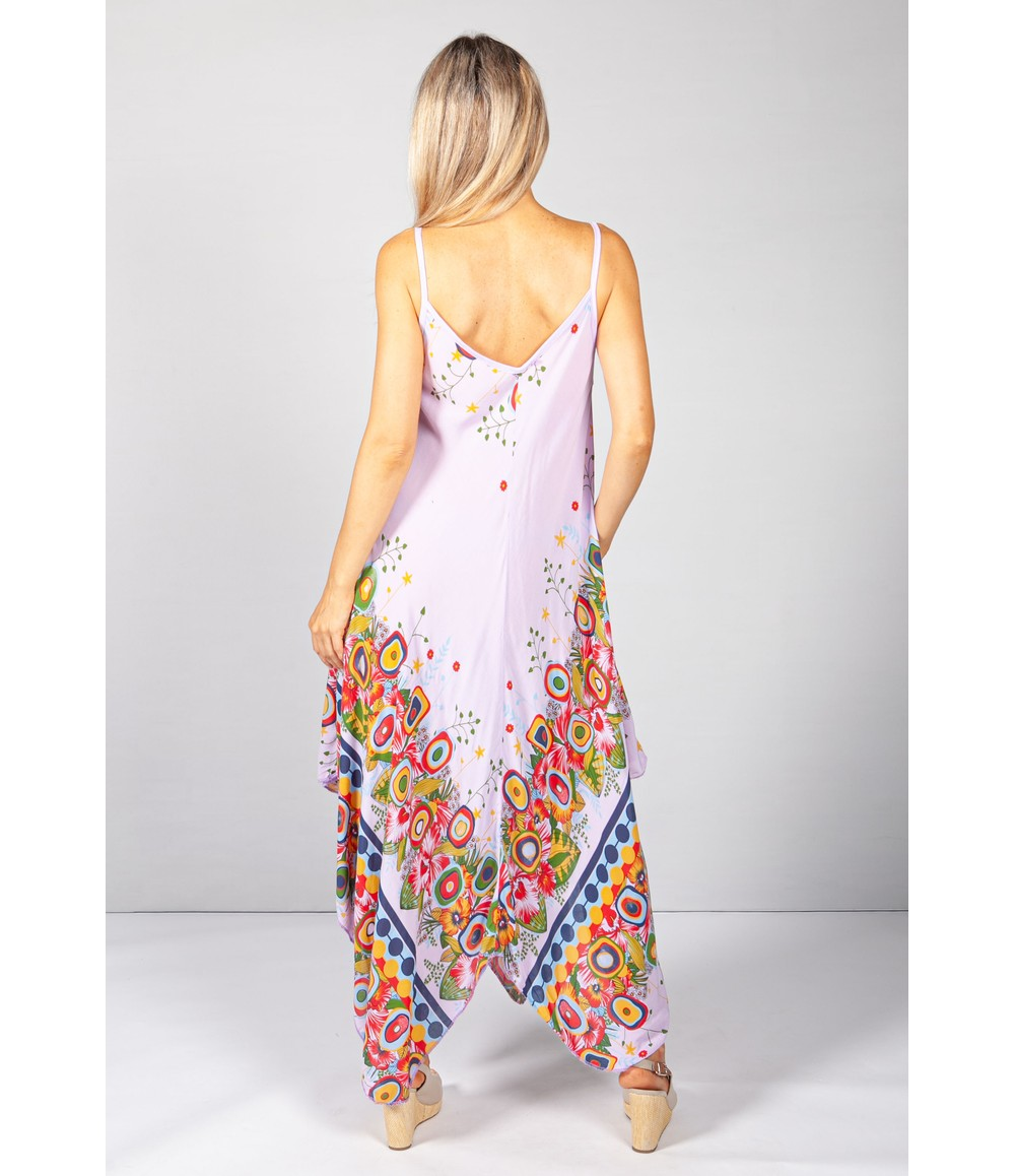 Pamela Scott Floral Abstract Print Dress in Lilac