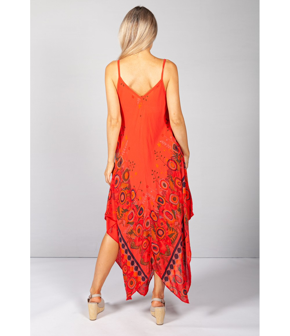 Pamela Scott Floral Abstract Print Dress in Red