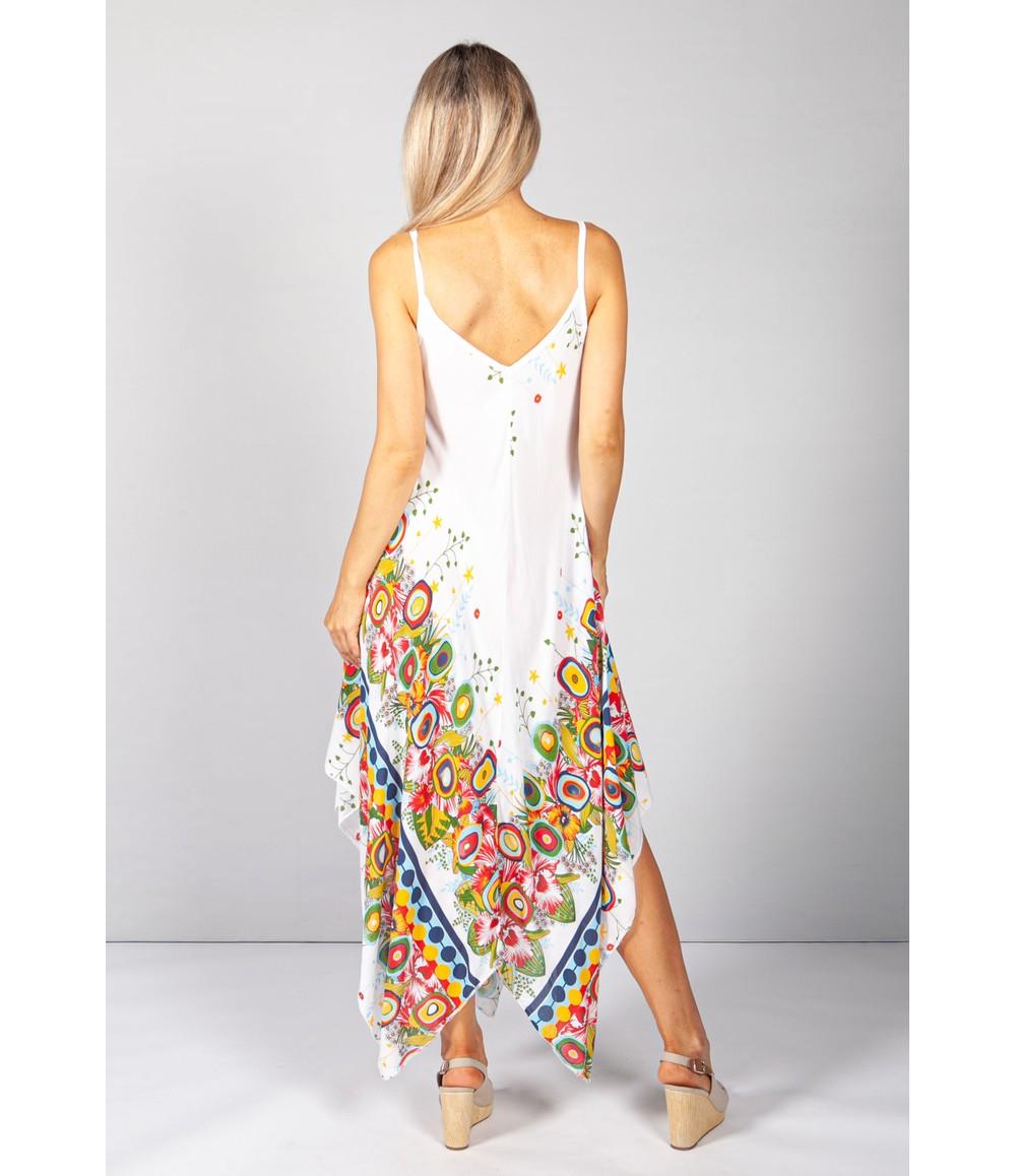 Pamela Scott Floral Abstract Print Dress in Cream