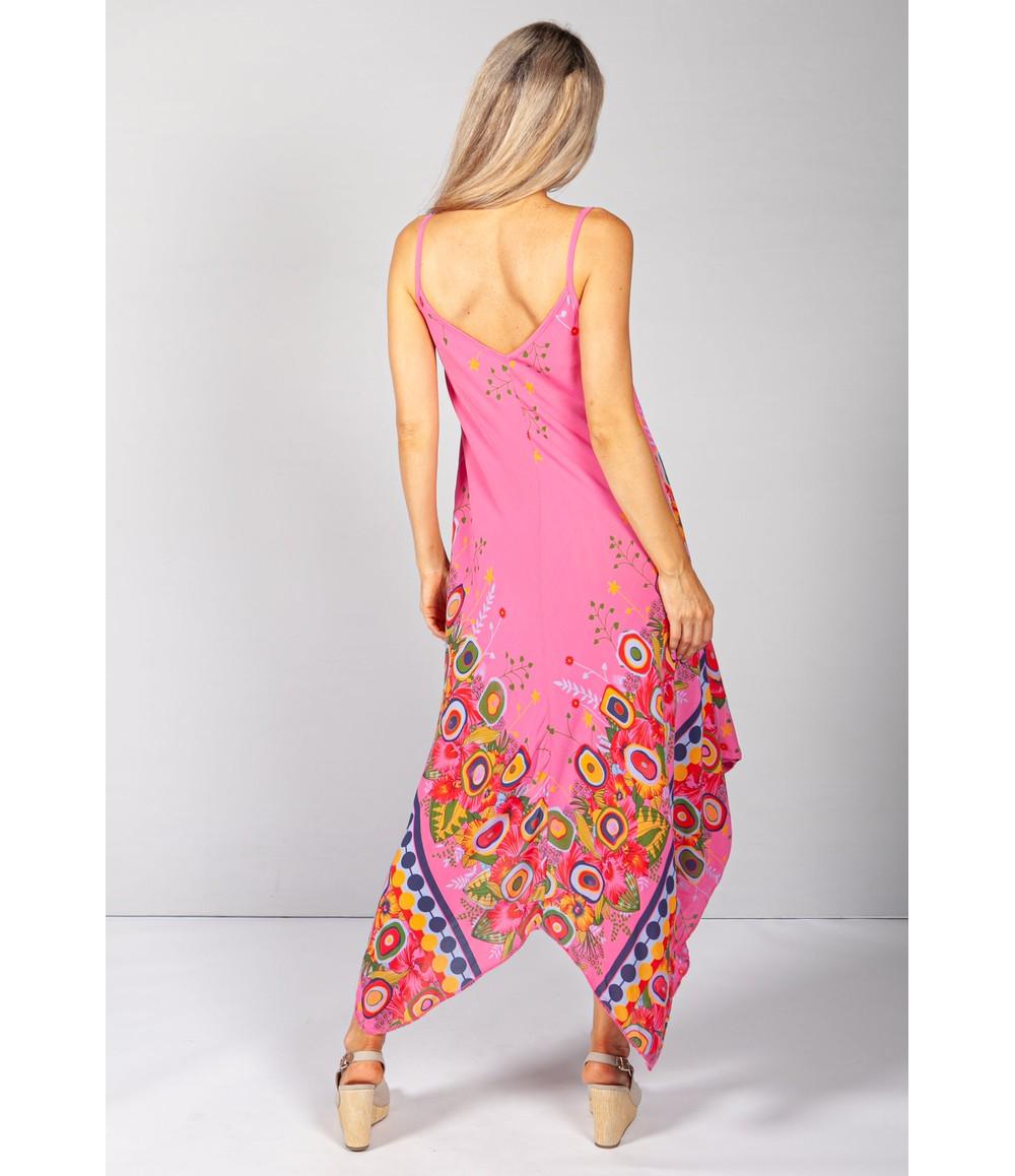 Pamela Scott Floral Abstract Print Dress in Fuchsia