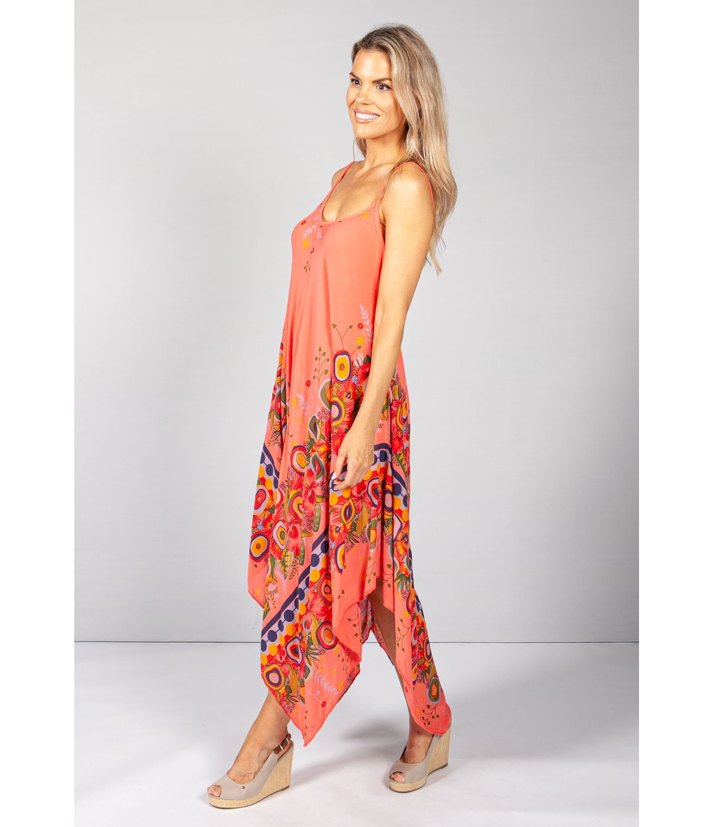 Pamela Scott Floral Abstract Print Dress in Coral