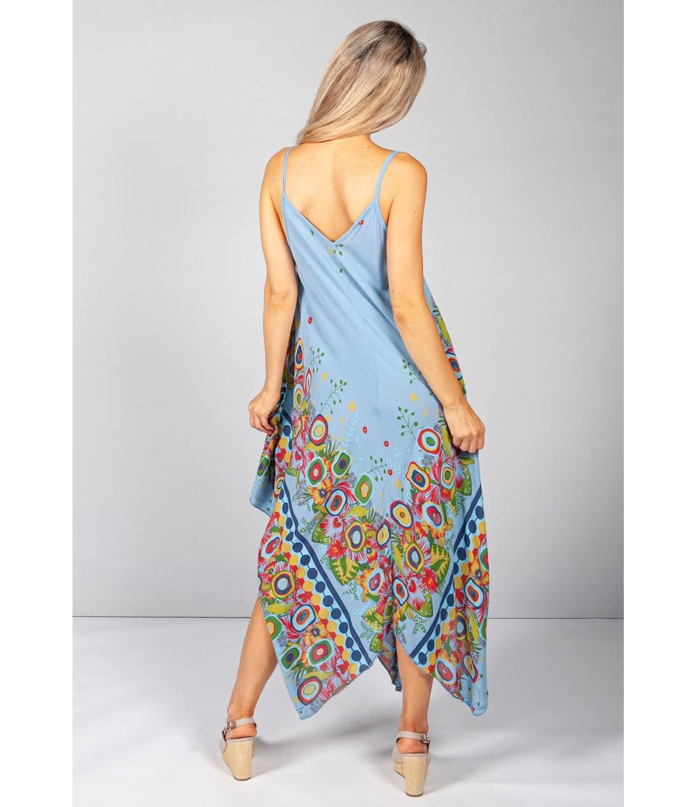 Pamela Scott Floral Abstract Print Dress in Blue