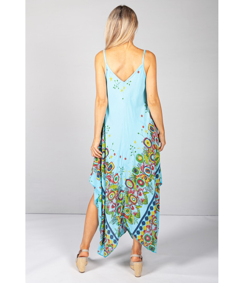 Pamela Scott Floral Abstract Print Dress in Turquoise