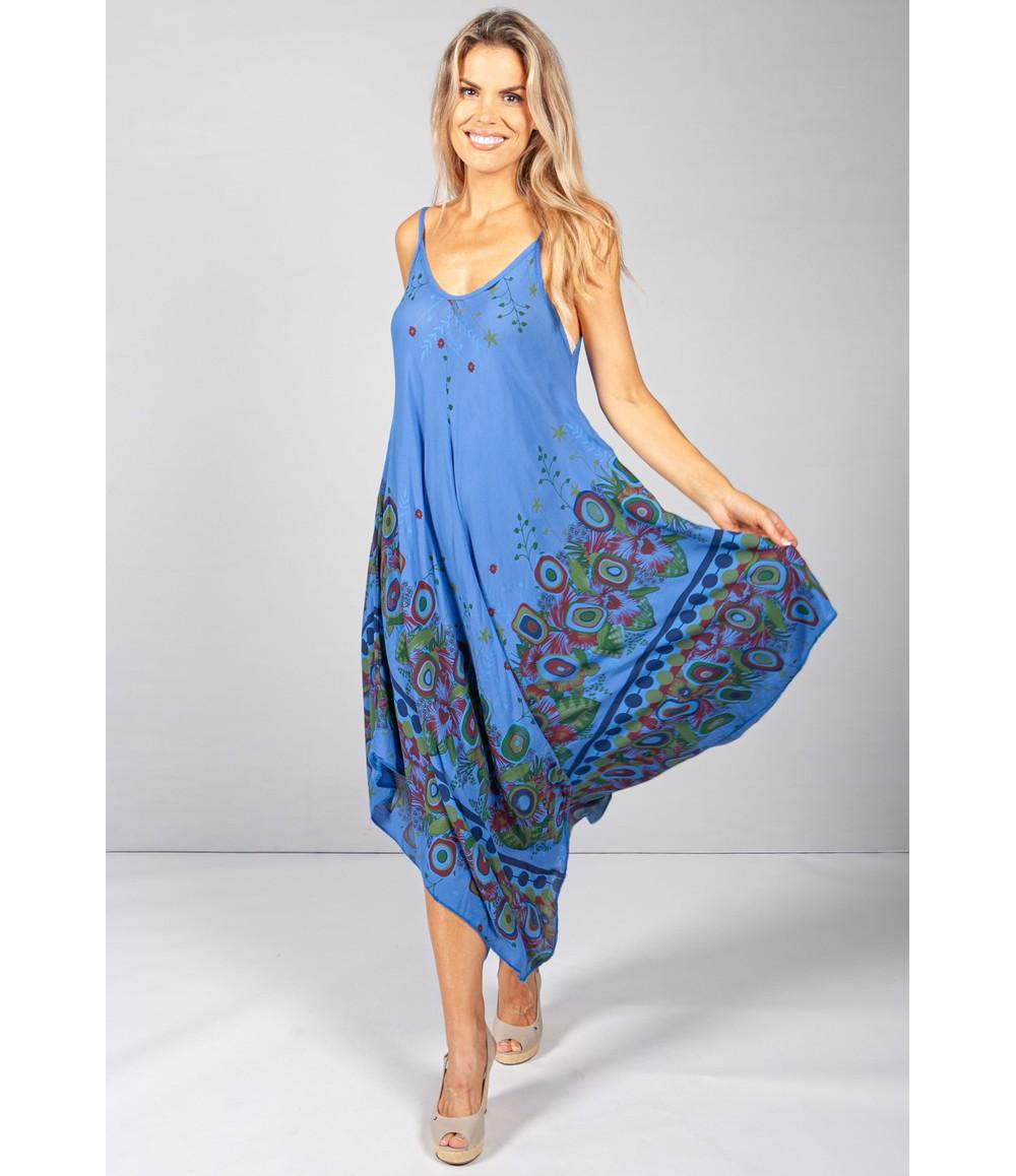 Pamela Scott Floral Abstract Print Dress in Royal Blue