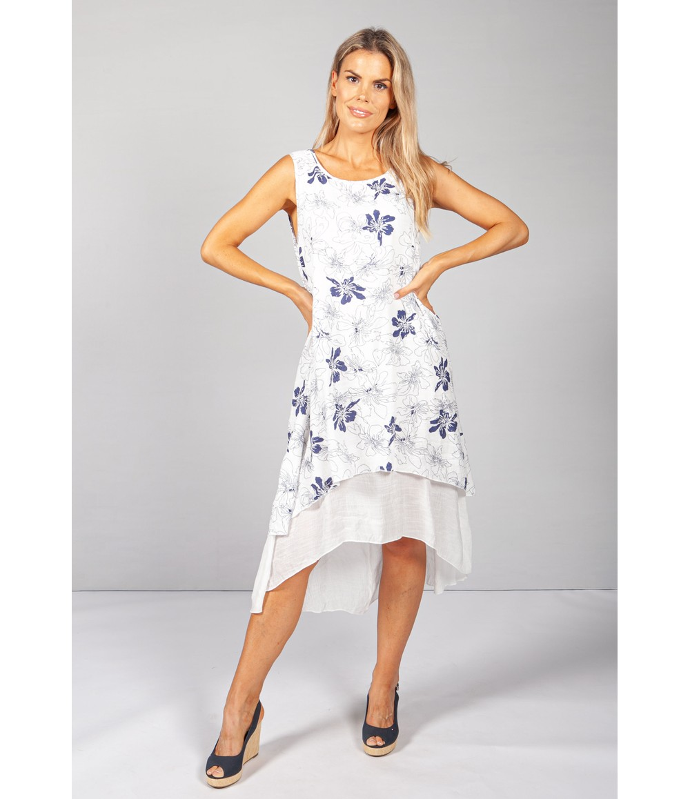 Pamela Scott White Floral Print Tiered Dress