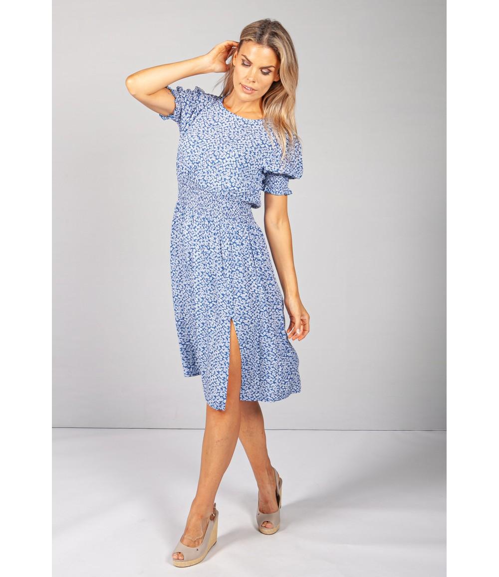 Pamela Scott Blue Floral Split Dress