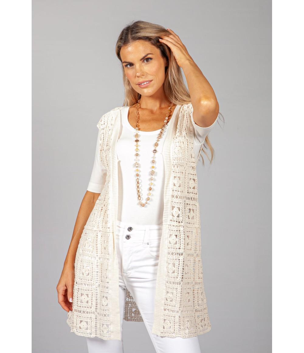 Pamela Scott Toffee Cream Crochet Cardigan