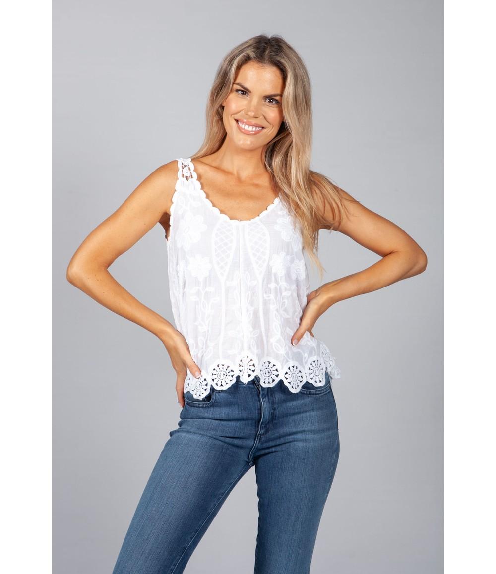 Pamela Scott Daisy Crochet Top in White