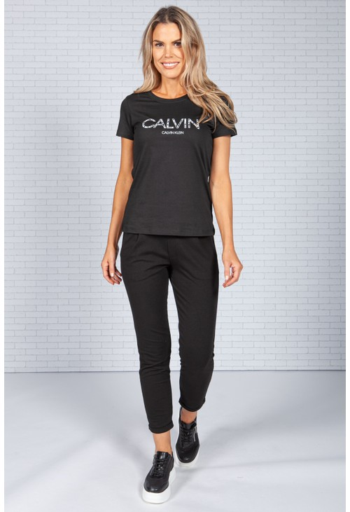 Calvin Klein Slim Fit Logo T-Shirt in Black