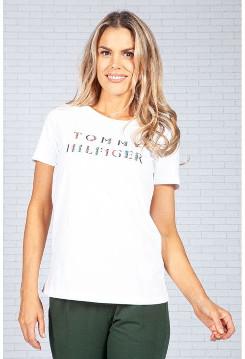 Tommy Hilfiger Floral Logo T-Shirt in White